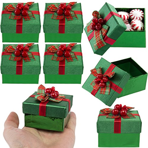For Keeps (8 Pack) Green Mini Gift Boxes With Lids, Pre Wrapped Gift Boxes with Bows, Christmas Party Favor Bulk Set