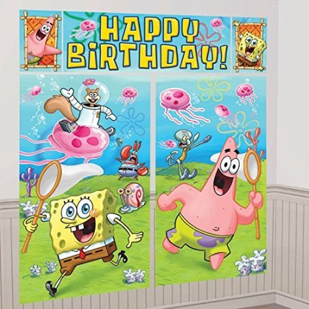(SpongeBob SquarePants Scene Setter Wall Decorations Kit - Kids Birthday and Party Supplies Decoration)