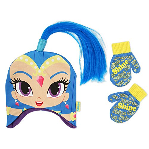 Nickelodeon Toddler Girls Shimmer and Shine Character Shine Acrylic Knit Contoured Short Winter Hat With Attached Knit Pony Tail and Matching Mitten Set, Blue, One (Hats With Hair Attached)