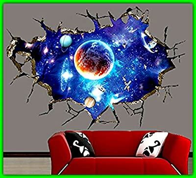 3D Ceiling Wallpaper Sticker DIY Outer Space Galaxy.Self Adhesive Waterproof Mural Art Wall Decals For Home Office Kids Room Decoration.Easy To Apply Removable Will Not Damage Your Walls OR Windows.!!