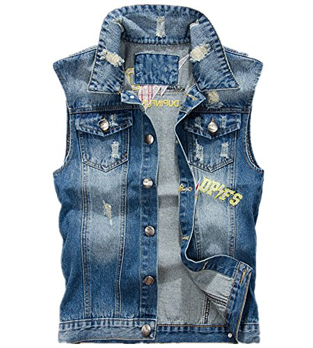 (Allonly Men's Fashion Embroidered Floral Sleeveless Denim Jacket Stylish Denim Jean Vest Tank Top)