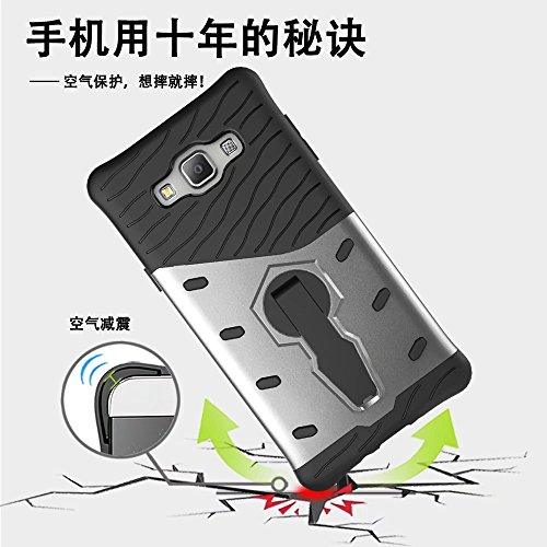 GR Para Samsung Galaxy A7 2015 Hybrid Rugged Armour Shield Protector a prueba de golpes con ajuste Kickstand funda ( Color : Black ) Black