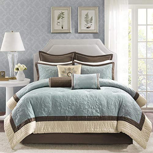 9 Piece Queen Brown Blue Comforter Set, Embroidered Luxury Bedding, Floral Brown Gold Blue, Damask Quilted Pattern, Elegant, Soft Fabric