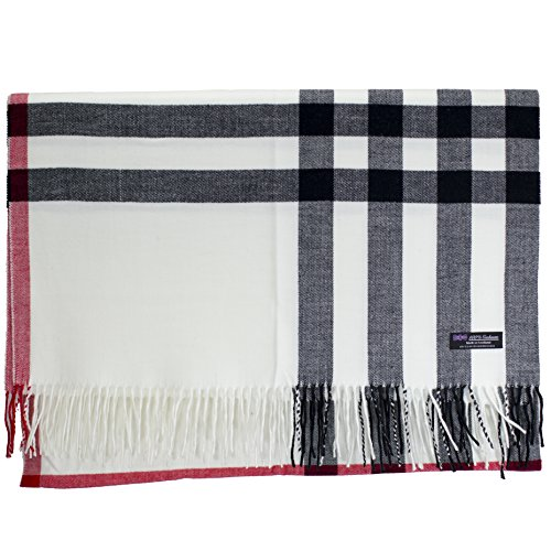 - 2 PLY 100% Cashmere Scarf BLANKET Collection Made in Scotland Wool Solid Plaid (White OS Check)
