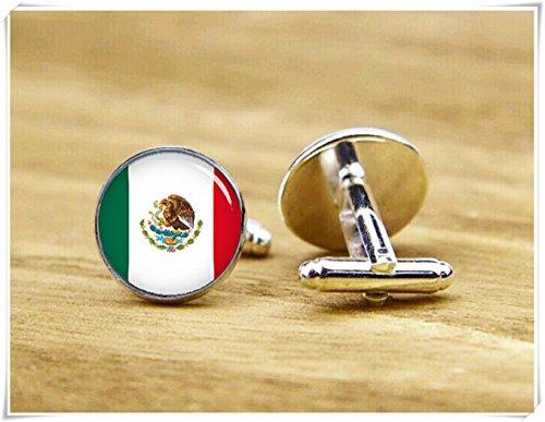 (CuteTRex jewelry Flag of Mexico cufflinks, Mexican flag, patriot cufflinks)