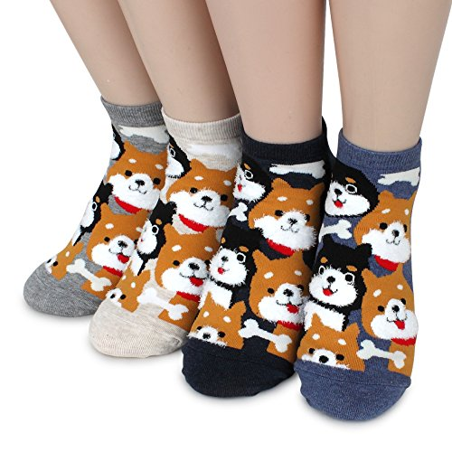 Funny Crazy Socks Collection (Shiba Inu(4pairs))