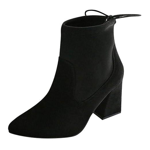 ❤ Botas de Invierno Mujer tacón Alto, Moda Mujer con Cordones Zapatos Tacones Cuadrados Damas Tacones Altos Botines: Amazon.es: Ropa y accesorios