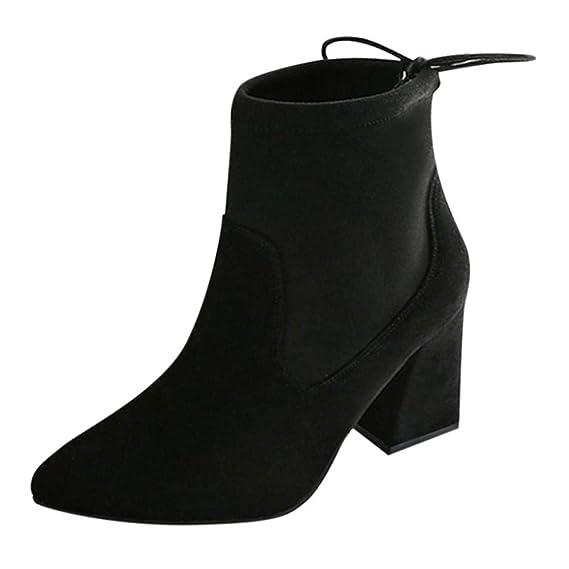 Botas Mujer Tacon,Naturazy Zapatos Mujer Tacones Botines Mujer Tacon Medio Planos Invierno Alto Botas Casual Plataforma Nieve Ante Botas De Cordones ...