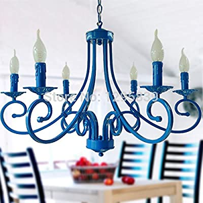 Continental Light Living Room Dining Bedroom Lamp Light Blue Mediterranean Garden Lighting Lamps Wrought Iron Candle Chandelier