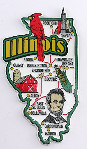 Illinois State Map And Landmarks Collage Magnet Fmc