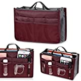 Asatr Lady WomenTravel Insert Handbag Organiser Purse Large liner Organizer Tidy Bag(Wind Red)