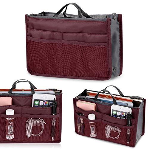 Asatr Lady WomenTravel Insert Handbag Organiser Purse Large liner Organizer Tidy Bag(Wind Red) by Asatr