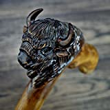 oleksandr.victory Canes Walking Sticks Wood Reeds Wooden Hand-Carved Carving Handmade Cane Stick Accessories (Buffalo, 34 inch)