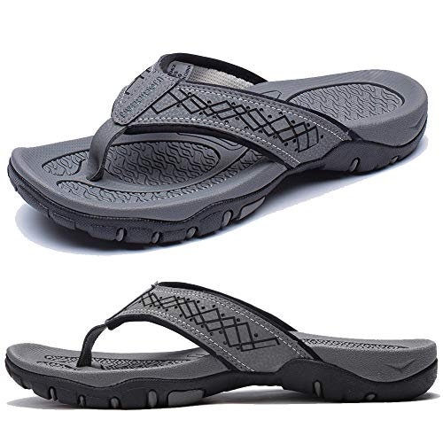 KIIU Flip Flops for Men Beach Sandals Outdoor Comfortable Slippers,Grey 45