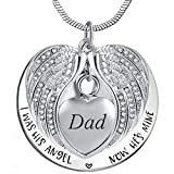 Angel Wing Urn Necklace for Ashes, Heart Cremation Memorial Keepsake Pendant Necklace Jewelry with Fill Kit and Gift Box (Dad)