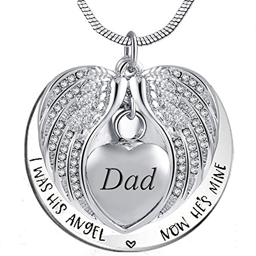Dad Heart - Angel Wing Urn Necklace for Ashes, Heart Cremation Memorial Keepsake Pendant Necklace Jewelry with Fill Kit and Gift Box (Dad)