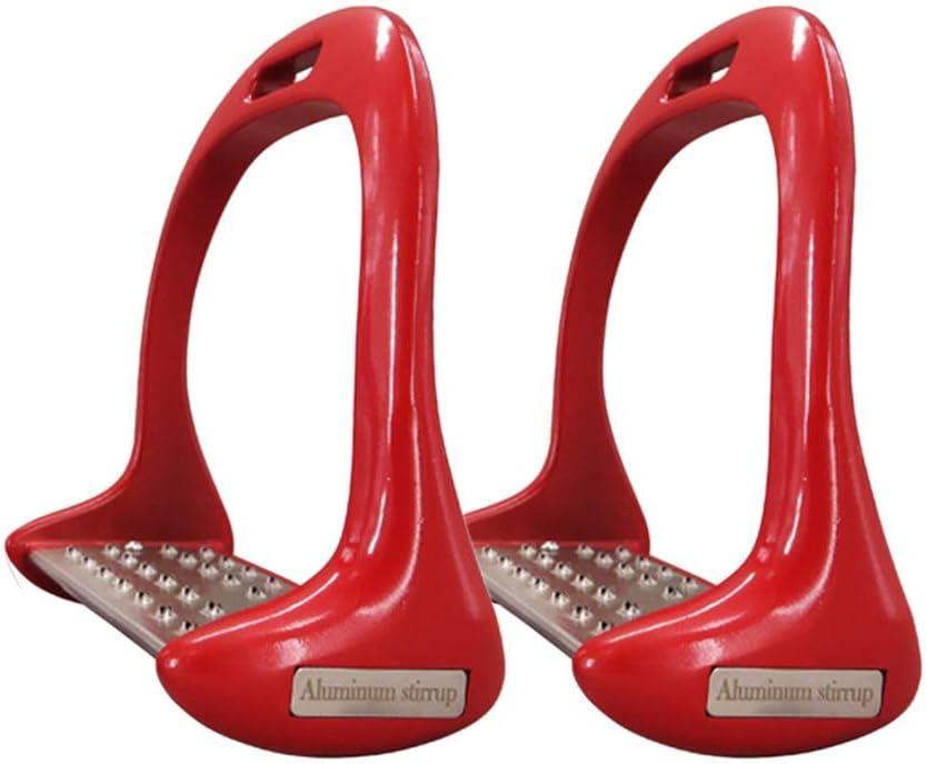 1 Par Caballo Estribos, Antideslizante Aluminio Seguridad Estribos Equitación Ecuestre Caballo Estribos - Rojo