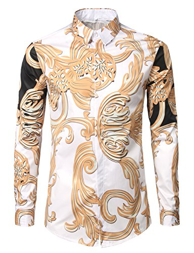 Whatlees Mens Casual Hipster Floral Printed Slim Fit Long Sleeve Dress Shirts Baroque Style Tops 4541 - Hipster Style Mens