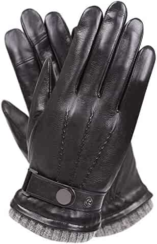 Men's Texting Touchscreen Winter Warm Nappa Leather Daily Dress Driving Gloves Wool/Cashmere Blend Cuff