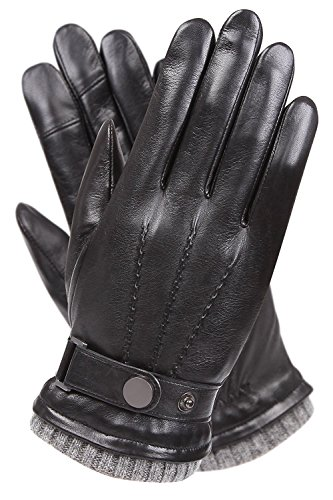 Men's Texting Touchscreen Winter Warm Sheepskin Leather Daily Dress Driving Gloves Wool/Cashmere Blend Cuff (8.5, Black (Cashmere&Woo Blend Lining))