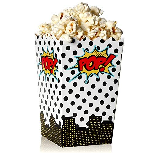 - Blue Panda 100-Count Superhero Comic Theme Mini Popcorn Party Favor Boxes - 3 x 5 Inch Snack Containers for Kids Birthday Parties and Movie Night