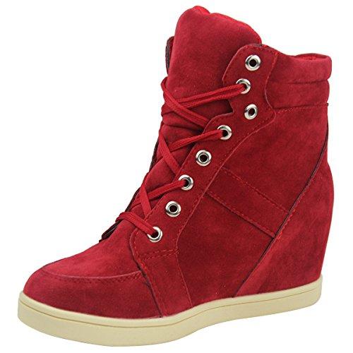 Mujer High Altura top Rojo Casuales Cordones Ocultar De Zapatos Cuñas Wealsex Hxd1n7q66