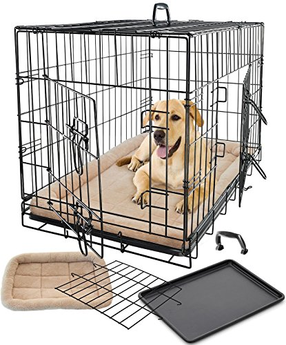 Pet Dog Cat Crate Kennel Cage & Bed Pad Cushion Warm Soft Cozy House Kit Playpen Folding Crate W/ Divider - 2015 Model, Super Easy to Assemble (X-Large Cage & Bed 36
