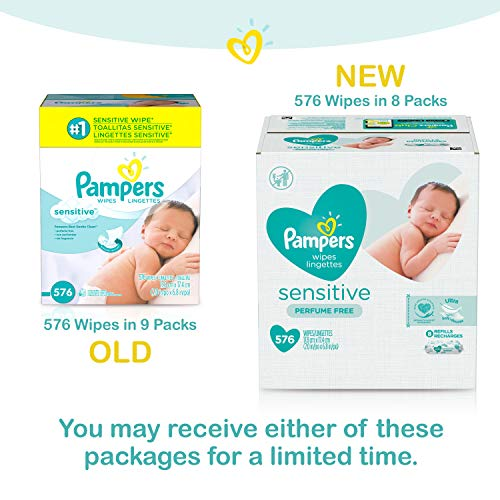 Pampers Baby Wipes Sensitive Perfume Free 8X Refill Packs (Tub Not Included) 576 Count