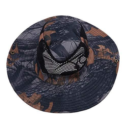 Fishing-Accessories - 1PCS Camouflage Male Female Mesh Fishing Hat Explore Bucket Hat Mountaineer Mesh Cap Breathable Sunscreen Hiking Fish Sun Hat ()