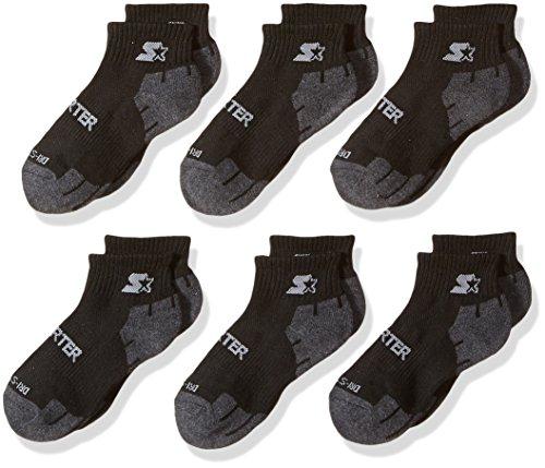 (Starter Boys' 6-Pack Quarter-Length Athletic Socks, Amazon Exclusive, Black, Small (Shoe Size 9-3.5) )