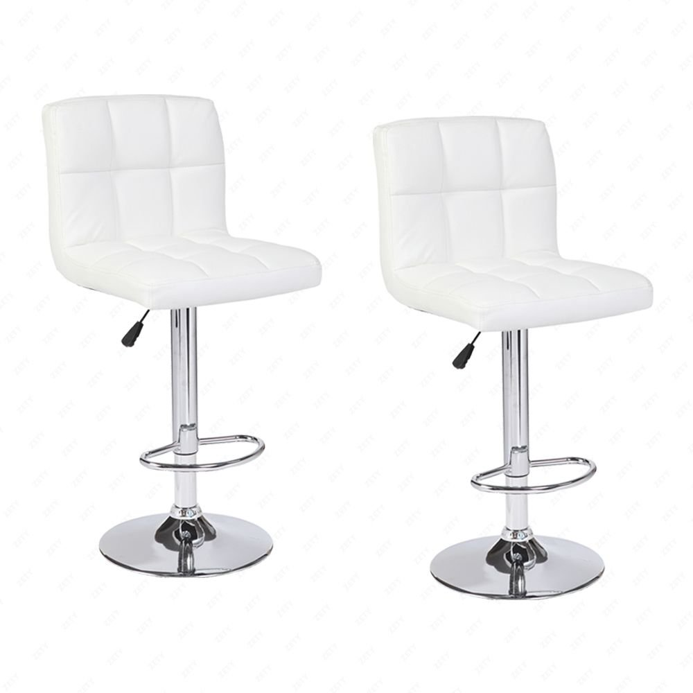 Mecor Adjustable Swivel Leather Bar Stools Hydraulic Counter Height Square Kitchen Dining Chairs with Chrome Base,Set of 2 (White)