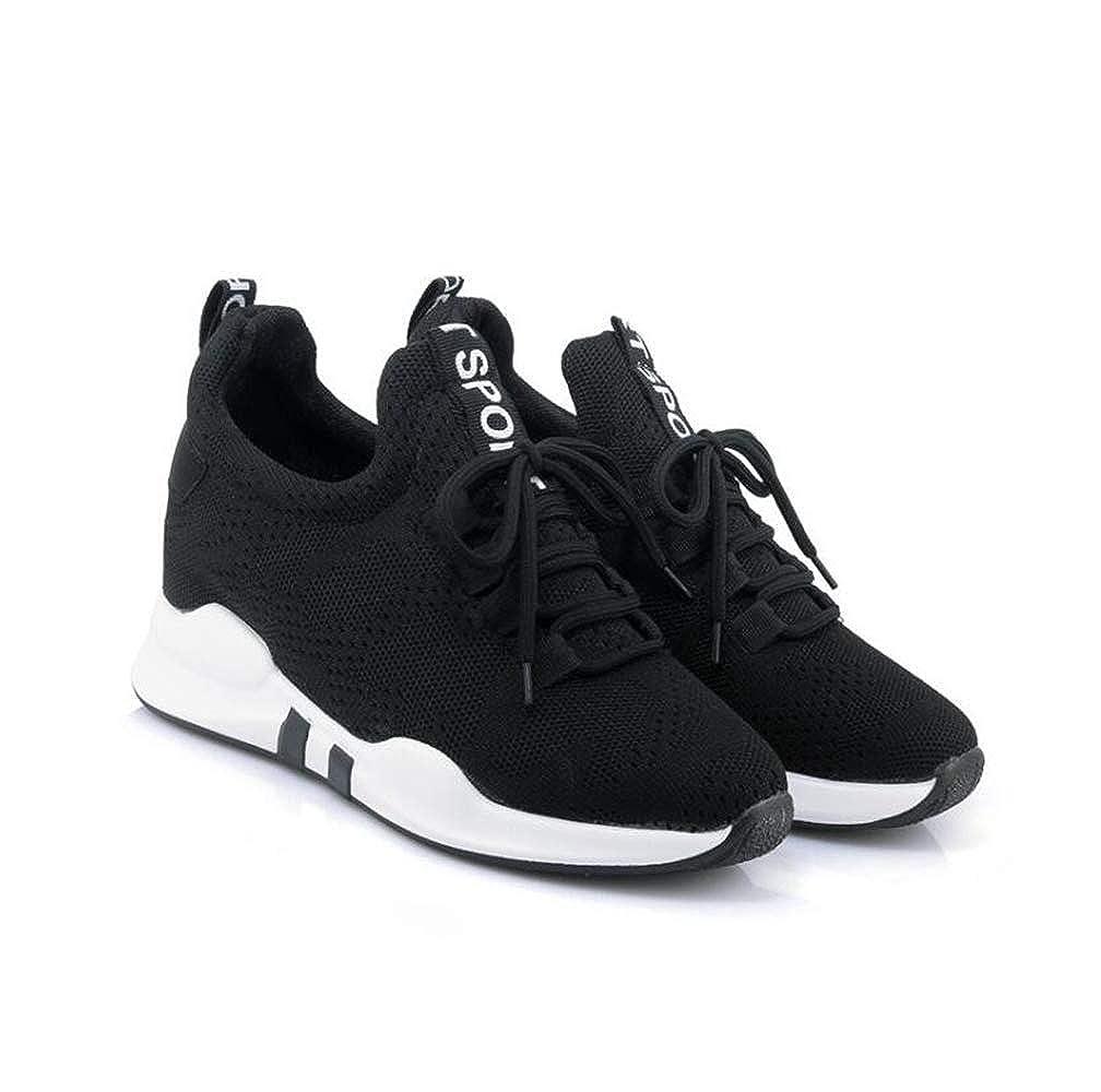 mogeek Zapatos de Cuña para Mujer Alta Transpirables Zapatillas de Deporte Talón Plataforma 5.5 cm Sneakers: Amazon.es: Zapatos y complementos