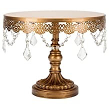 "'Sophia Collection' Antique Metal Cake Dessert Stand with Crystal Beads and Dangles, 10"" Diameter Plate (Gold)"