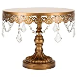 Sophia Collection Antique Gold 10 Inch Cake Stand with Crystals, Round Metal Wedding Birthday Dessert Cupcake Pedestal Display