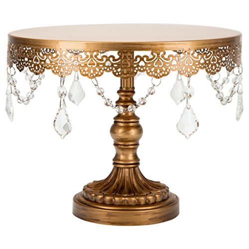 Collection Cake Plate (Sophia Collection Antique Gold 10 Inch Cake Stand with Crystals, Round Metal Wedding Birthday Dessert Cupcake Pedestal Display)