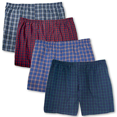 (Big Men's Players Plaid Boxers Underwear 4-Pack Assorted Colors 3XL)