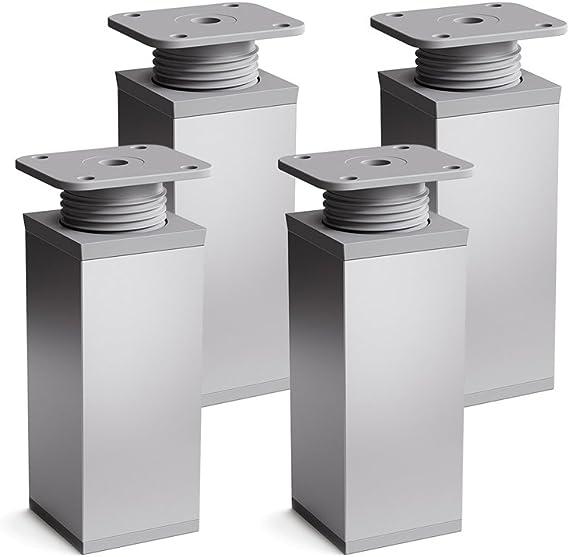 sossai® Patas para muebles MFV1 | 4 piezas | altura regulable | Diseño: Alu | Altura: 60 mm (+20mm) | Perfil cuadrado: 40 x 40 mm |Tornillos incluidos
