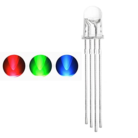 LED Emitting Diode, Waycreat 5mm RGB Light Emitting Diodes Super Bright  Electronics Components Tricolor (