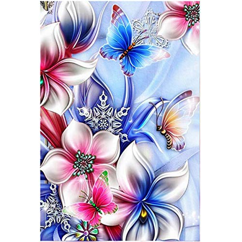 5D Full Drill Diamond Painting Kit, KISSBUTY DIY Diamond Rhinestone Painting Kits for Adults and Beginner Embroidery Arts Craft Home Decor, 15.8 X 11.8 Inch (Flower Butterfly Diamond Painting)
