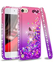 iPod Touch 7 Case, iPod Touch 6 Case, iPod Touch 5 Case with Tempered Glass Screen Protector [2 Pack] for Girls, LeYi Glitter Liquid Clear Phone Case for Apple iPod Touch 7th/ 6th/ 5th Gen Pink/Purple