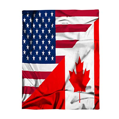 - Funy Decor Flannel Fleece Throw Blankets Natinal Flag Canadian American Stars and Maple-Leaf Red Ultra Soft Warm Cozy All Season Premium Bed Blanket for Kids/Girl/Boy/Adult 50
