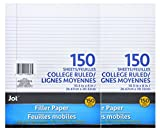 Jot College Ruled Notebook, Binder, Filler Paper , 150 Pages, Two Pack