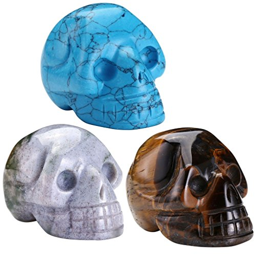 Top Plaza 1.5 Inch India Agate Tiger Eye Synthetic Blue Turquoise Carved Skull Head Healing Crystals Chakra Reiki Gemstones Pocket Figurines Decor (Agate Blue Turquoise)