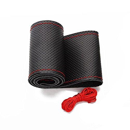 [해외]스티어링 휠 커버 - 새로운 -보기 DIY 핸드 바느질 안티 슬립 정품 가죽 조향 커버 38CM / 15 인치 자동차 스티어링 휠 랩/Steering Wheel Cover-New-View DIY Hand Sewing