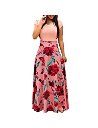 Party Long Dress Womens Fashion Casual Floral Printed Maxi Dress Short Sleeve