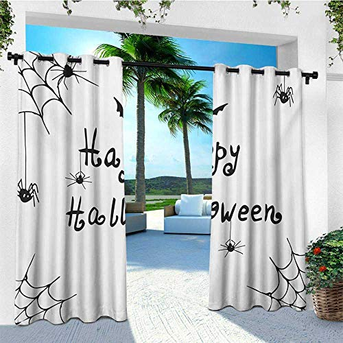 leinuoyi Spider Web, Outdoor Patio Curtains, Happy Halloween Celebration Monochrome Hand Drawn Style Creepy Doodle Artwork, Outdoor Privacy Porch Curtains W84 x L108 Inch Black White ()