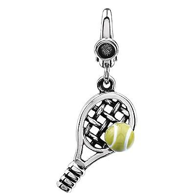 Abalorio de plata de ley, 30 x 10 mm, pulido, diseño de pelota de tenis y raqueta: Amazon.es: Joyería