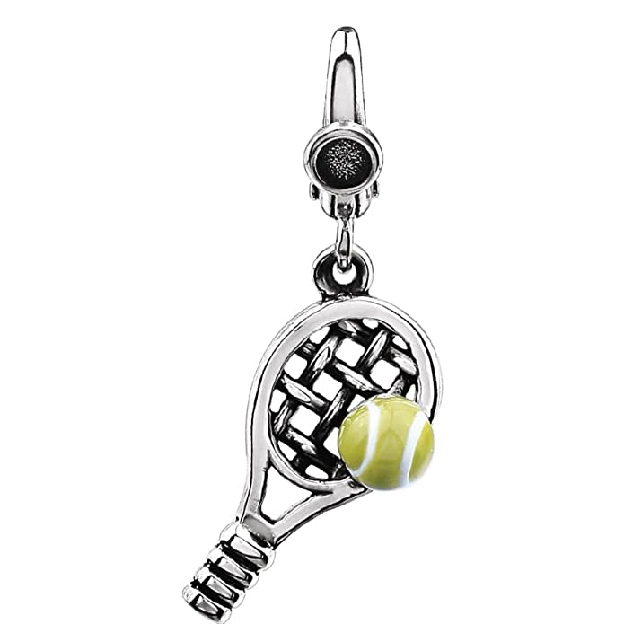 DiamondJewelryNY Abalorio de pelota de tenis y raqueta de plata de ...