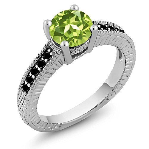 1.52 Ct Round Diamond (1.52 Ct Round Green Peridot and Black Diamond 925 Sterling Silver Women's Engagement Ring Sizes 5 to 9)
