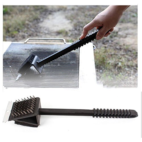 ZHUOTOP New 3-in-1 Stain Steel Bristle Brush BBQ Grill Steel Scraper Edge Clean Tool (Bar And Edge Grill)